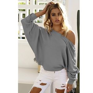 Sweaters - Oversized off Shoulder rouched sleeve sweater